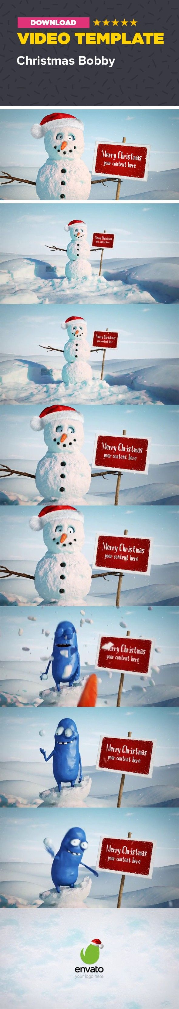3d, animation, cartoon, character, christmas, funny, holiday, logo, merry, new year, snow, snowman, winter, xmas                     After Effects CS4 and above Full HD resolution – 1920×1080 / 24fps / 15 sec No plug-ins required Very fast render – about 4 minutes on I7 There are 2 placeholders. The sign and the logo at the end. To add your content just drag and drop it. You can remove the Christmas frame if you like and place a video or picture on the sign. There are masks for the…