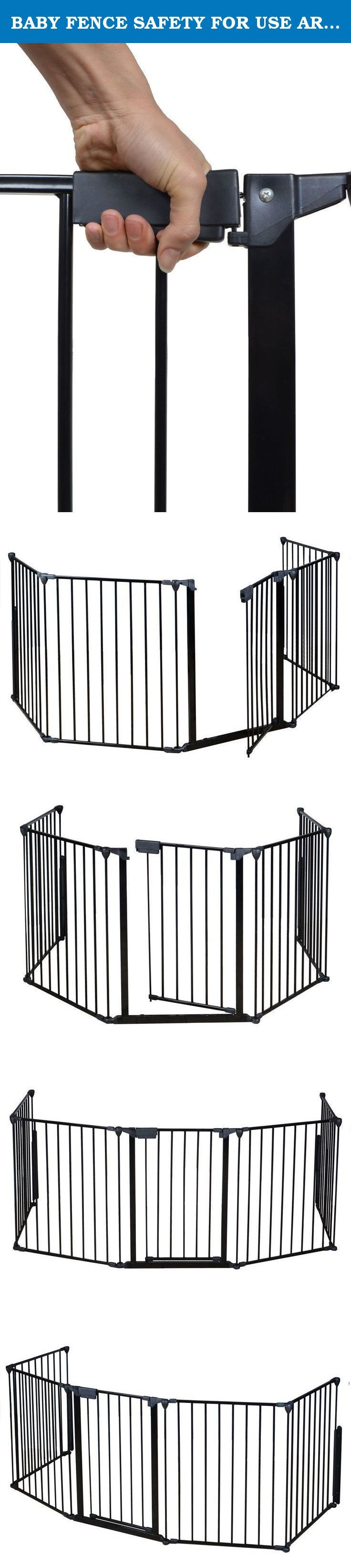 BABY FENCE SAFETY FOR USE AROUND FIREPLACES - FENCE FOR YOUR LOVELY PET. Constructed of heavy duty tubular steel. All joints easily rotate and lock for secure attachment. Quick release, adjustable wall mount hardware. Can be connected as a freestanding play area with optional extensions. Comes with a door with handle to make it easy for you to get through to your fireplace, or grill. Door section can be placed anywhere within the layout. Safety for use around fireplaces, grills, wood…