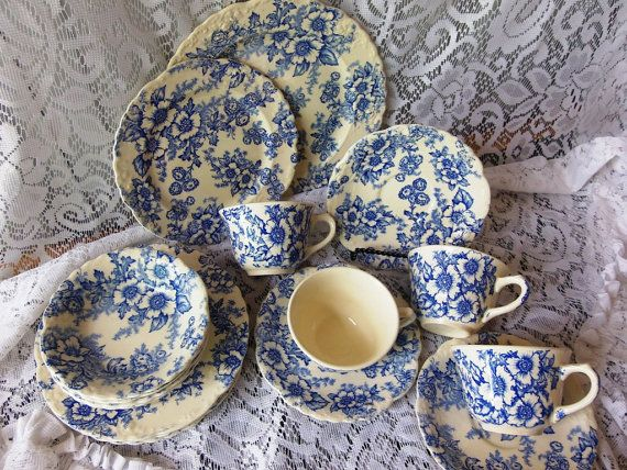 1940s Vintage Taylor Smith Taylor Dinnerware Blue Dogwood