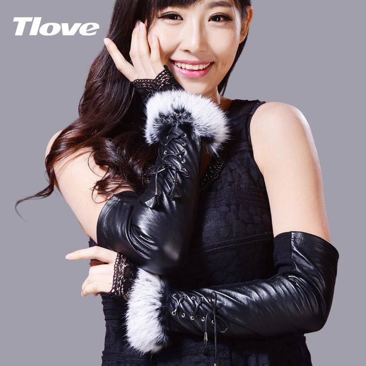 ==> [Free Shipping] Buy Best Lady Long Leather Gloves Women Fashion Lace Hair Sheepskin Gloves Female Performance Stage Oversleeve Party Gloves B-1475 Online with LOWEST Price | 32643444241