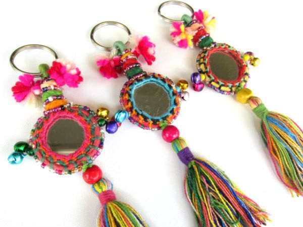 BOHO Tassel Mirror Keychain Camel Swag Indian Mirror Decoration Rajasthan Camel Mirror Decoration with Cotton Tassels Beadwork and Bells by midgetgems on Etsy https://www.etsy.com/listing/268549983/boho-tassel-mirror-keychain-camel-swag