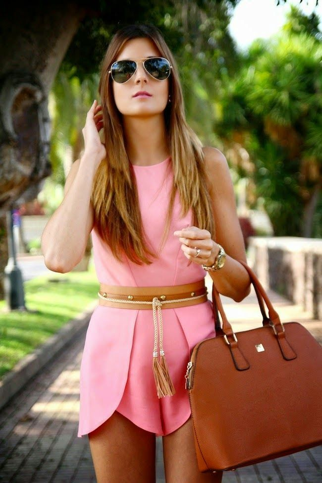 Gorgeous pink summer best street style stylish dress with brown leather plan hand bag and gold hand watch the best street fashion inspiration & looks