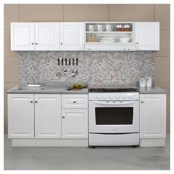 Paquete de  cocina 7 piezas. Color blanco. Medida 2.40 m. Incluye llave mezcladora. Tarja sencilla de acero inoxidable. Cubierta de formaica. Gabinete base. Jaladeras y zoclo. Modelo PK240P7-WH.