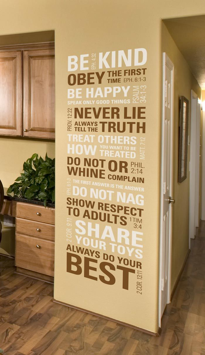 "Scripture House Rules Wall Decal   I want mine in Metallic Gold and Harvest Gold for an egg shell wall color 18""W61""L $80"