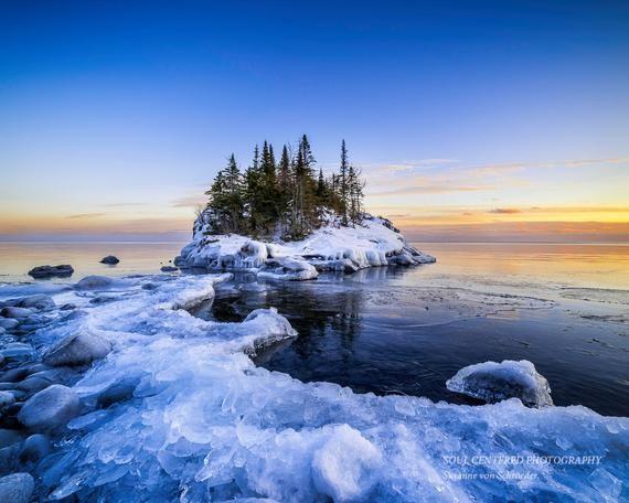 Lake Superior Winter Sunset Landscape Photography North Etsy Lake Superior Lake Photography Winter Sunset