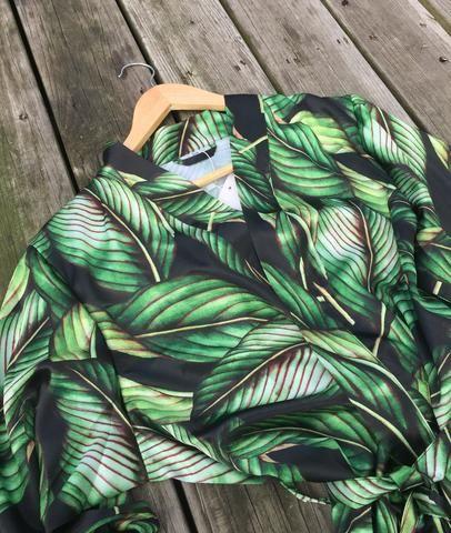 Tropical Leaves Pattern Soft Matte Satin Robe