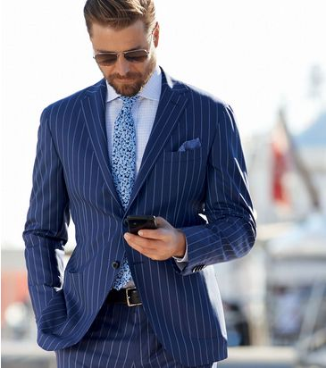 Blue Pinstripe Suit on light blue room design