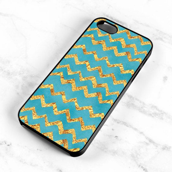 Gold Glitter Chevron iPhone Case Aqua iPhone 6s by MintPrintCases