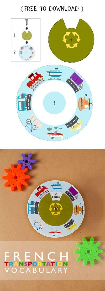 Free French Transportation Vocabulary Wheel Language Printable