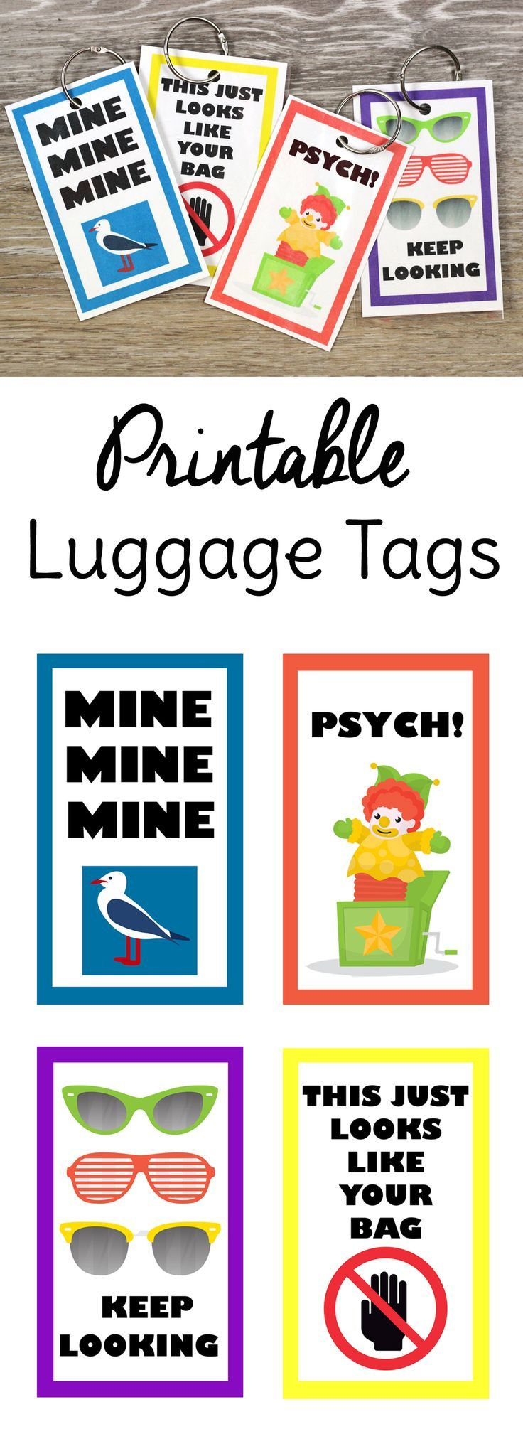 DIY a set of these funny free printable luggage tags for happy travels!
