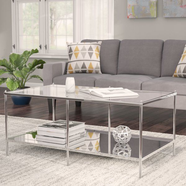 Effortlessly Blending Contemporary Style With Art Deco Influence This Charismatic Coffee Table Lends Glam Mirrored Coffee Tables Coffee Table Living Room Grey