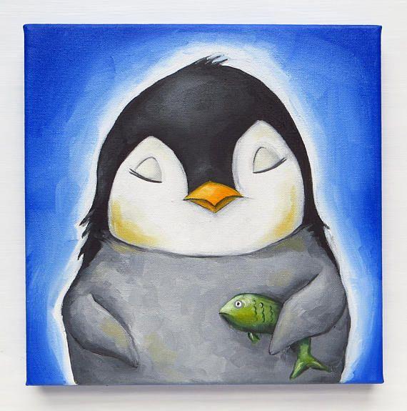 Penguin Portrait Little Penguin with Fish Original Painting