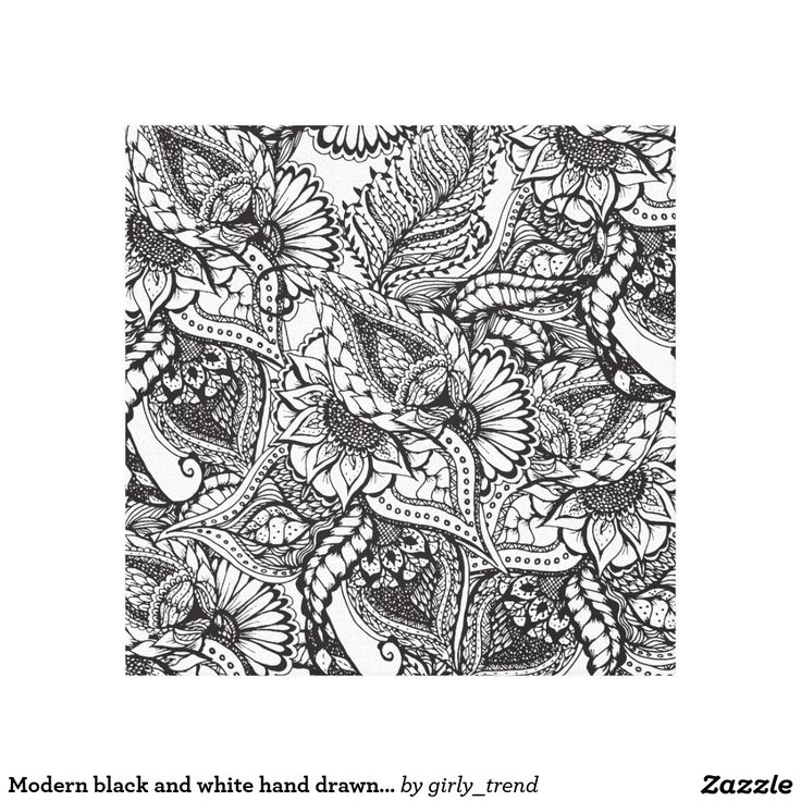 Modern black and white hand drawn floral pattern canvas print
