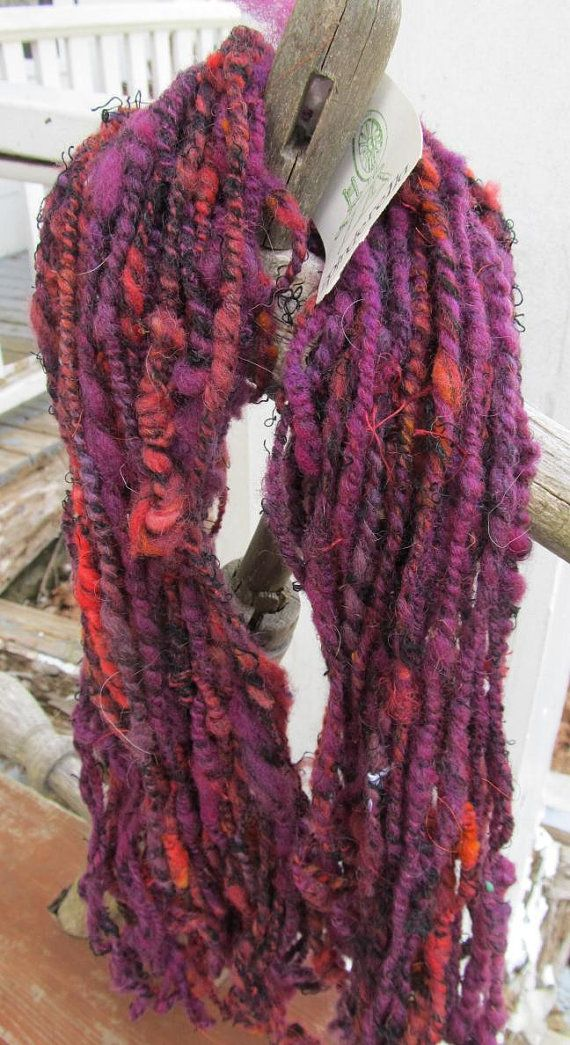 Wool & Linen Thick and Thin Purple Red Black 3 Ply by Crystalheart, $27.00