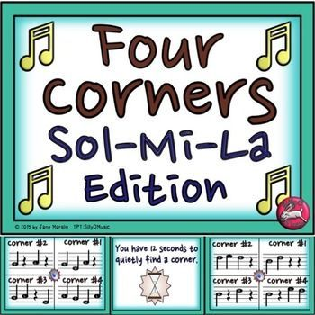 Musical Four Corners, Sol-Mi-La. Great way to review sight-singing, my 1st and 2nd graders LOVE it!  Answers are in the PPT so a music sub can run the game.