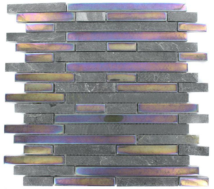 Geological Tao Black Slate Rainbow Gl Tiles Contemporary Tile By