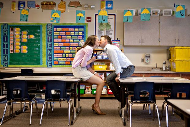 Engagement session in a classroom. Perfect for all those teachers out there.