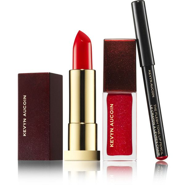 Kevyn Aucoin The Expert Lip Kit Femme Fatale ($48) ❤ liked on Polyvore featuring beauty products, makeup, lip makeup, lipstick, red, kevyn aucoin, glossier makeup, polishing kit, lip gloss makeup and kevyn aucoin cosmetics