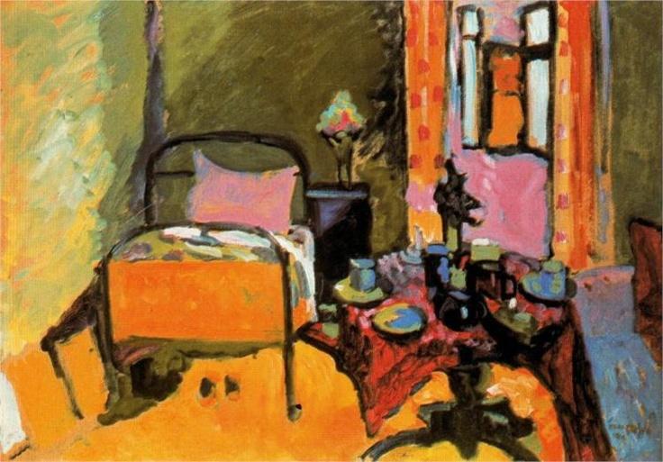 Kandinsky.Bedroom in Aintmillerstrasse, 1909.