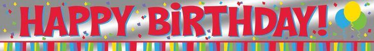 Foil Banner, 6' Happy Birthday (12/case)