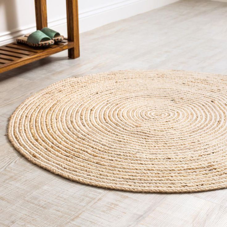 A hardwearing round rug or mat handwoven