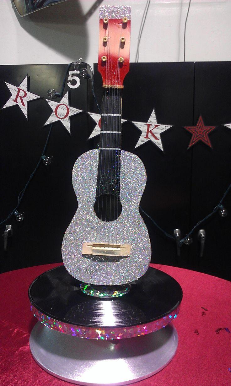 "Rotating guitar centerpiece and handmade ""Rock Star ..."