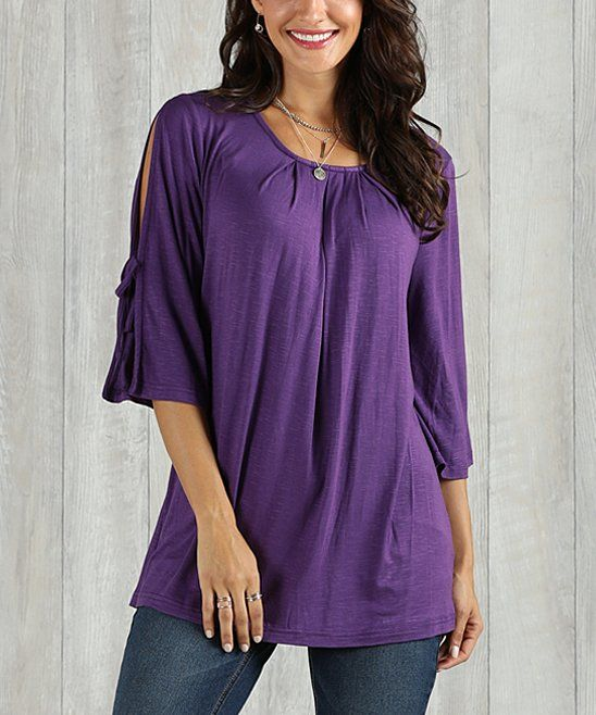 71943fc86b7 Take a look at this Eggplant Slit-Sleeve Tie-Detail Tunic - Women   Plus  today!