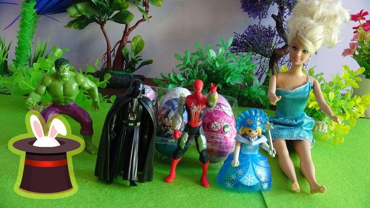 Unboxing de huevos kinder sorpresa con Hulk Spiderman Barbie y Darth Vader