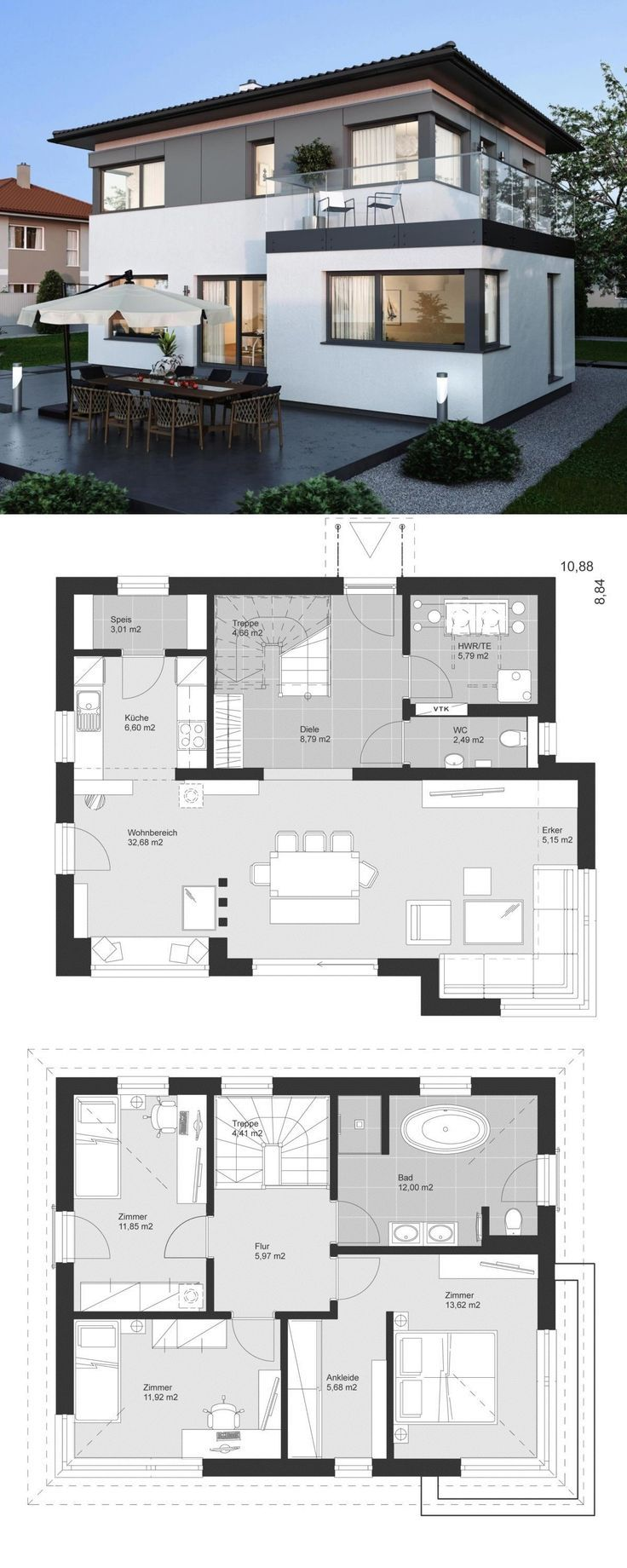Moderne Stadtvilla mit Walmdach Architektur, Erker…