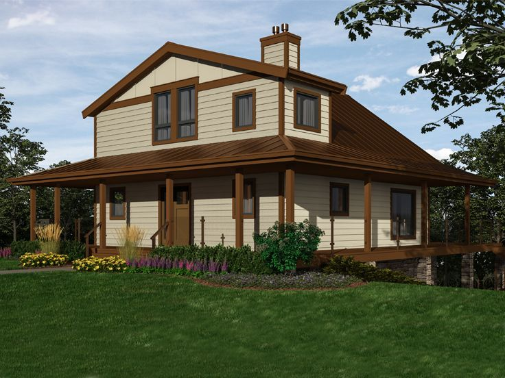 010h 0030 Country House Plan Suitable For A Mountainside 2432 Sf Mountain House Plans Two Story House Plans Country House Plans