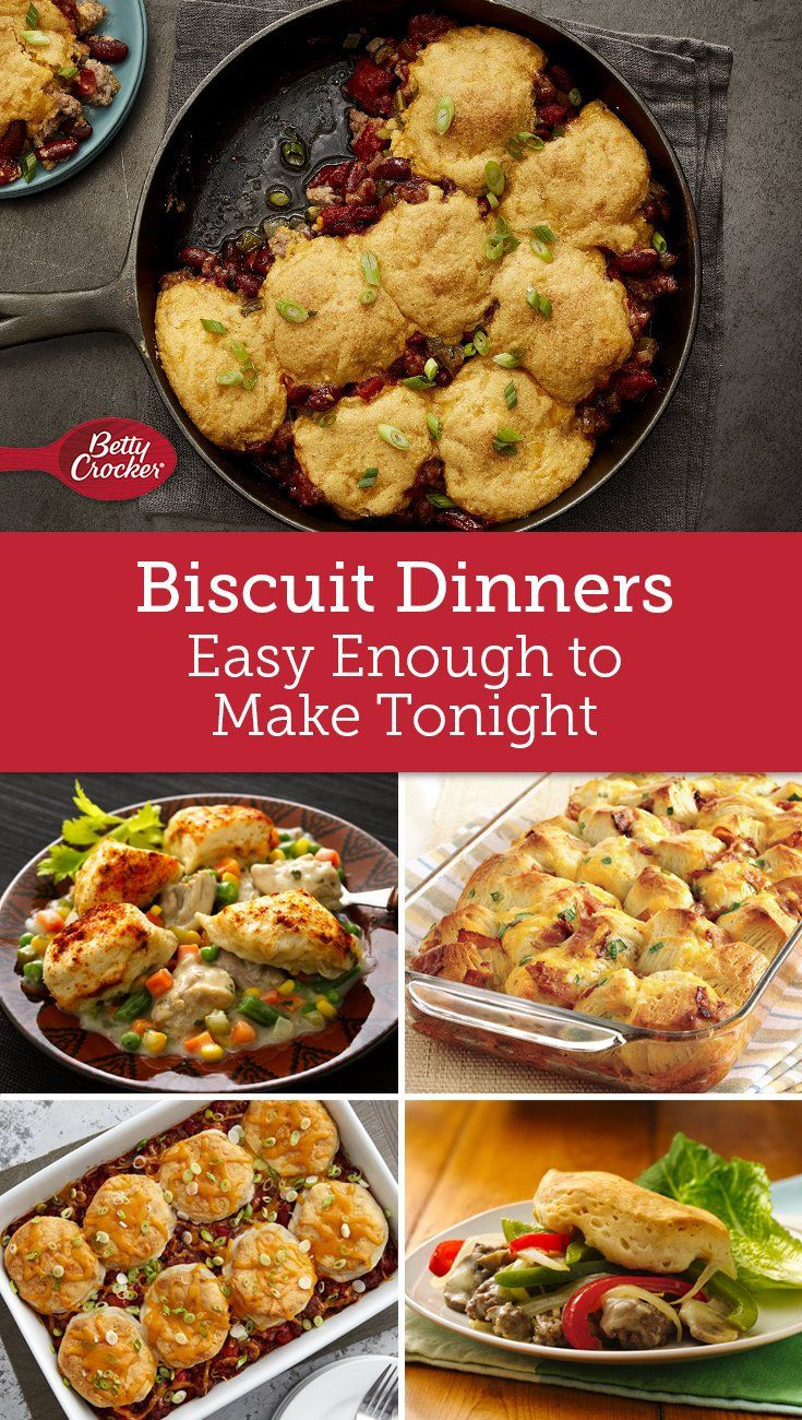 Flaky, soft biscuits give you a jump start on dinner, so you can serve up something warm and cozy in 60 minutes or less.