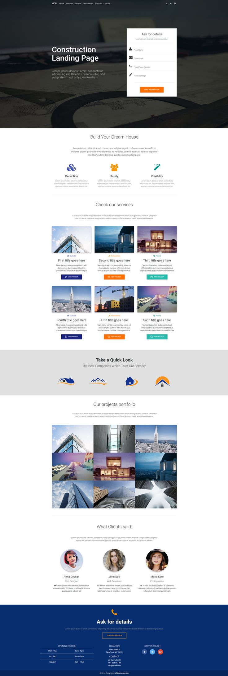 Material Design Construction Landing Page Template, created with Material Design for Bootstrap