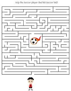 Printable Soccer Maze Games Medium From Printabletreats