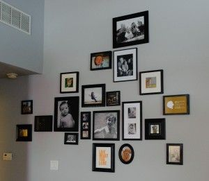 Group frames of different sizes to create a unique display of photos and favorite quotes.