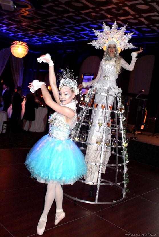 Deluxe Stilt Champagne Skirt & Ballerina from Catalyst Arts Entertainment- Winter Wonderland