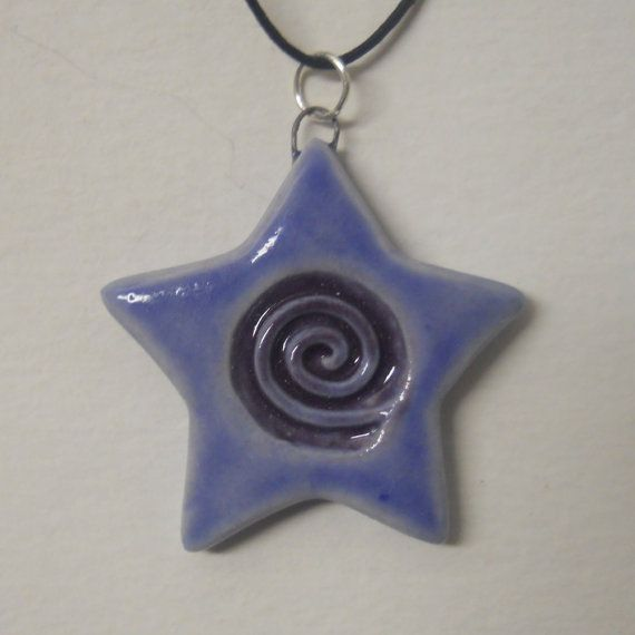 Spiral Star Clay Pendant  Sapphire Blue and by celticsouljewelry
