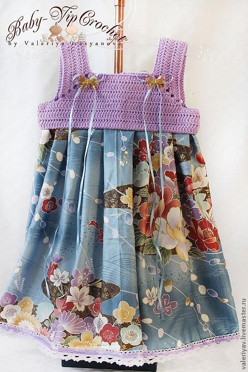 """Одежда для девочек, ручной работы. Ярмарка Мастеров - ручная работа Платье для девочки """"Японские цветы"""". Handmade."""