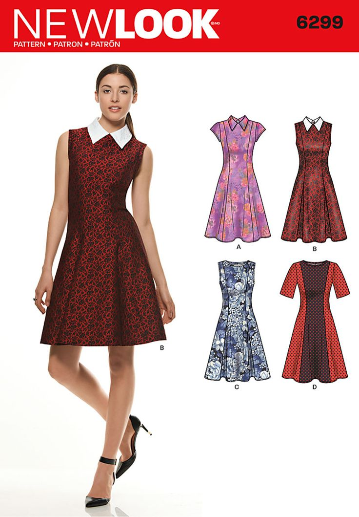 Simplicity Creative Group - Misses' Dress with Neckline & Sleeve Variations new look 6299