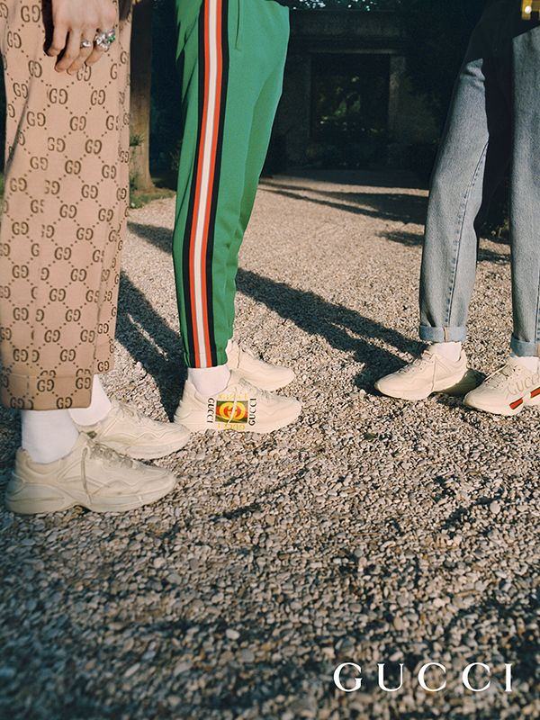 4025a68b0 ... the new Gucci Rhyton sneaker has a retro influence with a distressed  effect or embellished by the Gucci vintage logo prints from the 80s.