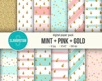 Digital paper pack MINT+PINK+GOLD, golden drops on striped background, set of 12 jpg, seamless glitter pattens for scrapbooking