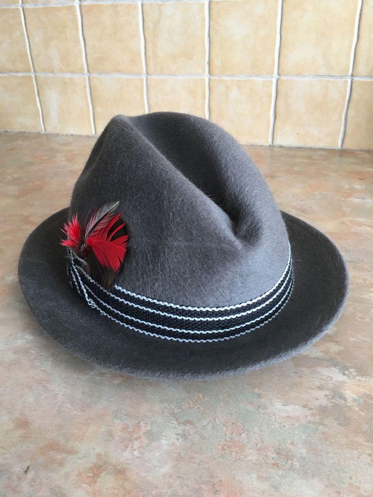 Vintage Robert Hall Fedora Hat Genuine Fur Felt Caribou Silk Feather Size 7 #RobertHall #Fedora
