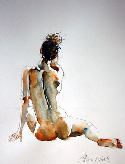 Watercolor Figure Studies | Alan White figure studies in watercolour and pastel