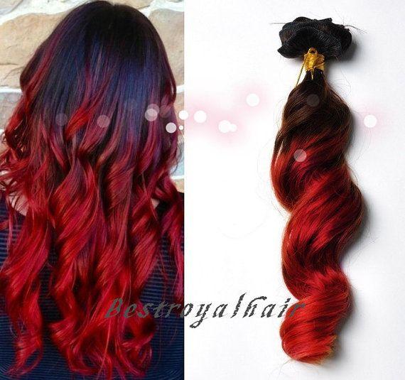 Brun foncé à l'extension de cheveux rouge deux couleurs Ombre, 18 clips pleine tête Ombre Indian remy clip en extensions de cheveux RHS239