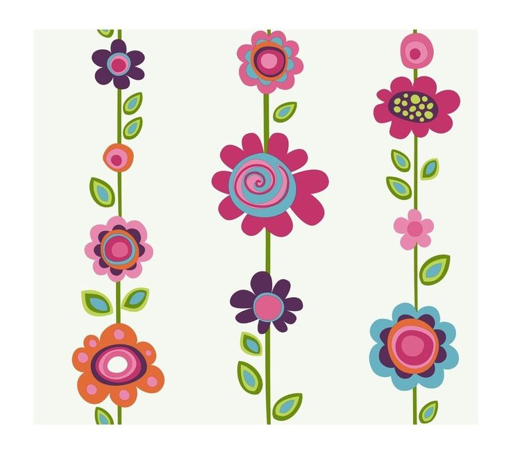 YORK WALLCOVERINGS GIRL POWER  WALLPAPER STYLE PW3960 BRIGHT FLOWERS FLORAL #YORK