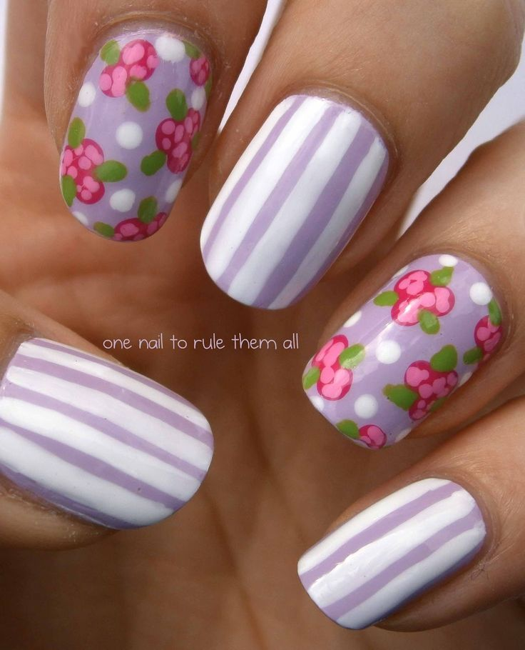 pretty... roses & lilac stripesVintage Flower, Nails Style, Nailart, Nails Design, Spring Nails, Flower Nails, Purple Nails, Stripes Design, Animal Nails Art