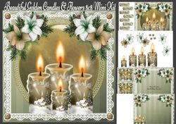Beautiful Golden Candles   Flowers 8x8 Mini Kit on Craftsuprint - View Now!