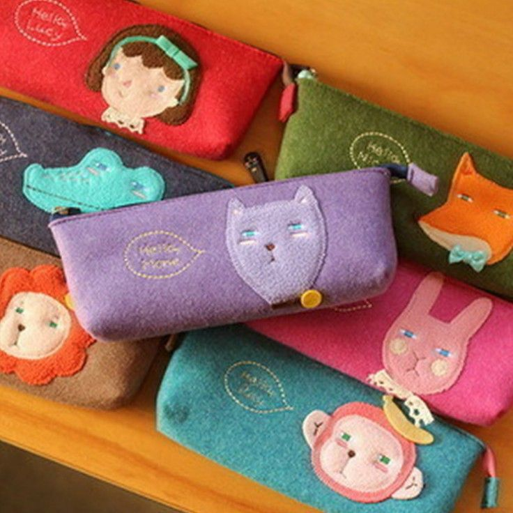 Korean Style Cute Animals Pencil Case Lovely Felt Pen Case Storage Cosmetic Makeup Tool Bag Organizer Pouch Free Shipping