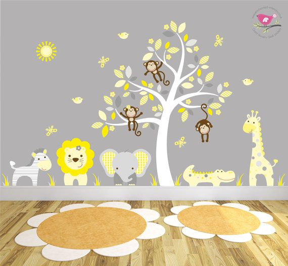 Yellow And Grey Nursery White Tree Mural, Safari Animals, Gender Neutral Baby  Wall Stickers, Grey Elephant Wallpaper