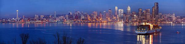 Seattle skyline 12th Man reflection panorama photography by Mike Reid