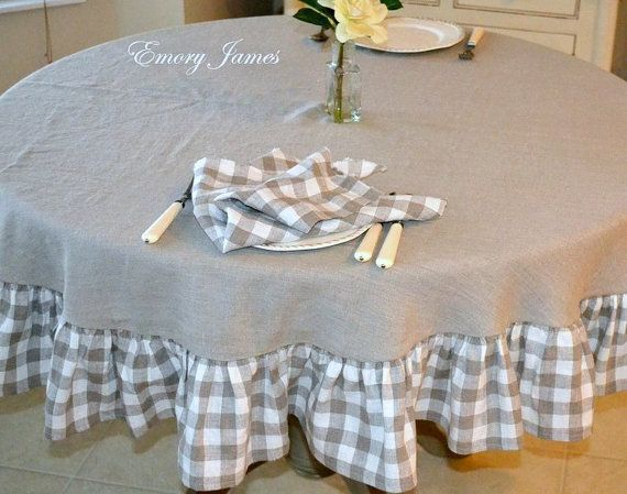 Linen Round Tablecloth With Checked Ruffle, French Country, Natural Linenu2026